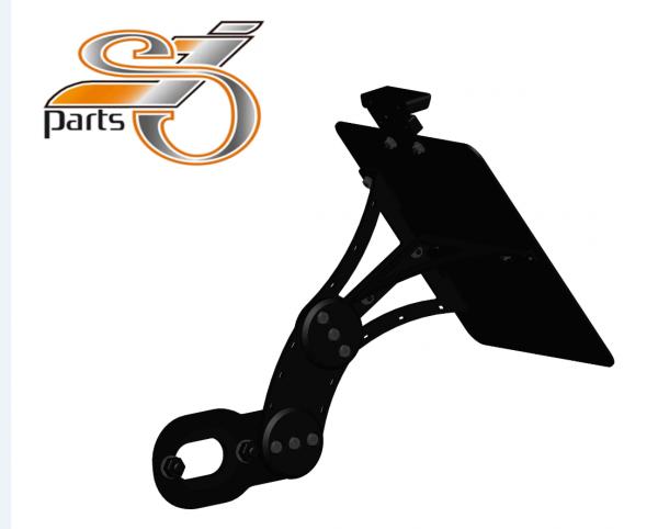 Kennzeichenhalter seitlich Harley Davidson Softail, einstellbar, Bj. 2018- mit Komplett-Beleuchtung