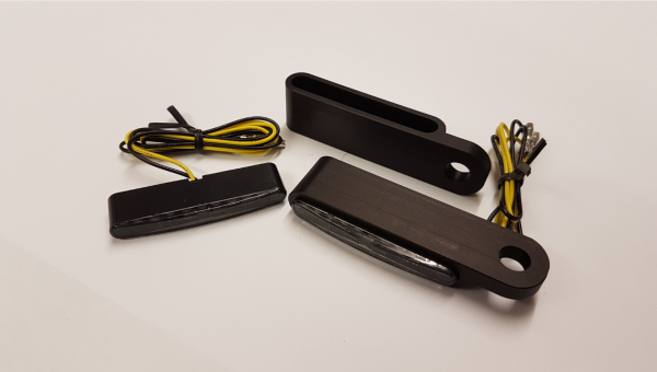 JS-Parts Led-Mini Blinker Stripe, mit Gehäuse schwarz eloxiert
