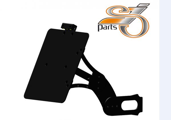Kennzeichenhalter seitlich Harley Davidson Softail, einstellbar, Bj. 08-17 mit Beleuchtung