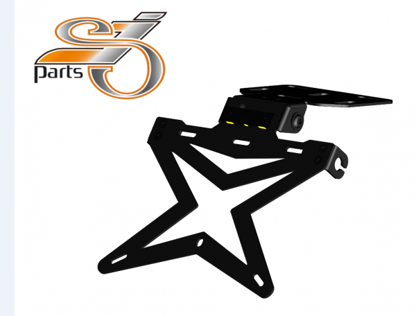 Kennzeichenhalter Universal V2 Motorrad Umbau Streetfighter mit Beleuchtung