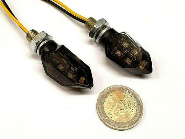 JS-Parts MINI LED Blinker Motorrad Quad Glas getönt, E-geprüft
