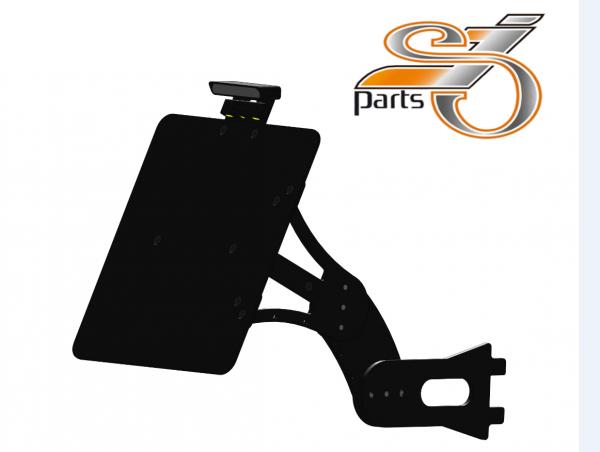 Kennzeichenhalter seitlich Harley Davidson Softail, einstellbar, Bj. 84-07 mit Komplett-Beleuchtung