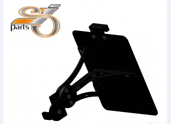Kennzeichenhalter seitlich Moto Guzzi V9 Bobber Roamer, einstellbar mit Beleuchtung