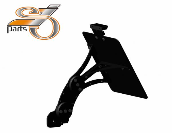 Kennzeichenhalter seitlich Moto Guzzi V7, 750, einstellbar, Bj. 07-16 mit Komplett-Beleuchtung